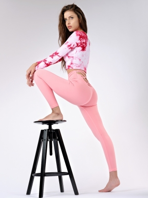 Cross Leggings - Salmon Rose