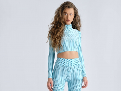 Bluza zipper crop 3D - Light Blue