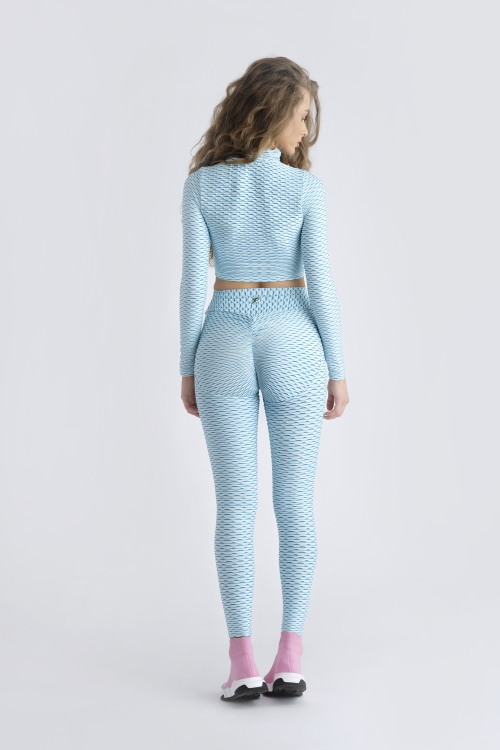 Crop Zipper Top 3D - Light Blue
