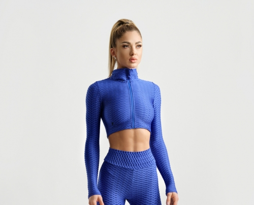 Crop Zipper Top 3D - Royal Blue